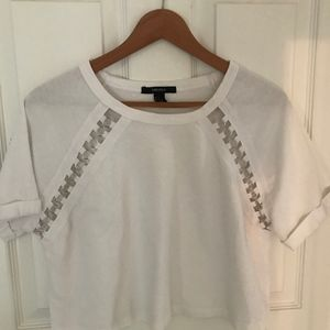 Forever 21 Crop White tee with metal ring detail